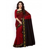 Brown And Cream Georgette Embroidered Traditional Saree With Blouse Piece