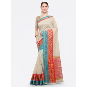 Off-White Silk Cotton Woven Design Kanjeevaram Saree