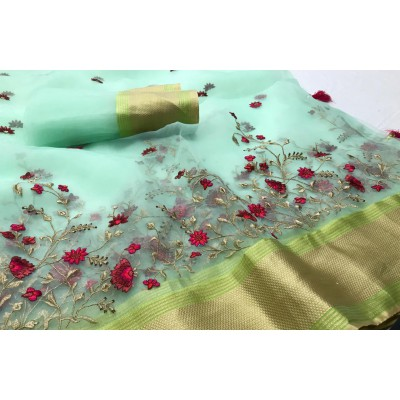Heavy organza with Embroidery Work Saree Wholesale