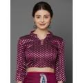 Magenta Silk Blend Printed Kanjeevaram Saree
